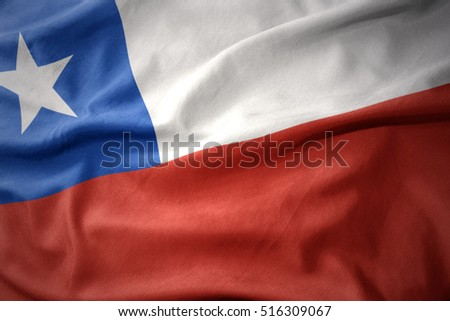 waving colorful national flag of chile.