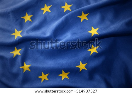 waving colorful national flag of european union.