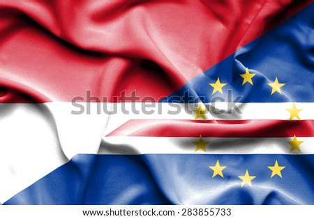 Waving flag of Cape Verde and Indonesia