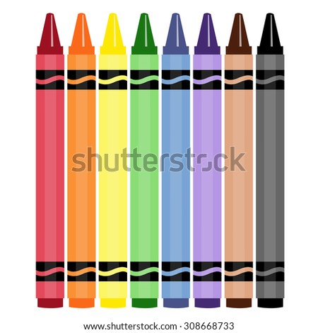 Wax colorful crayons, blue, green, yellow, orange, grey and brow  set collection isolated