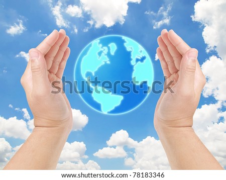 We can safe the world together, Hands as if holding the earth against blue sky