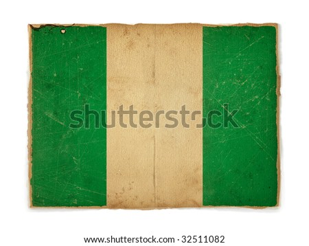 weathered flag of Nigeria, paper textured