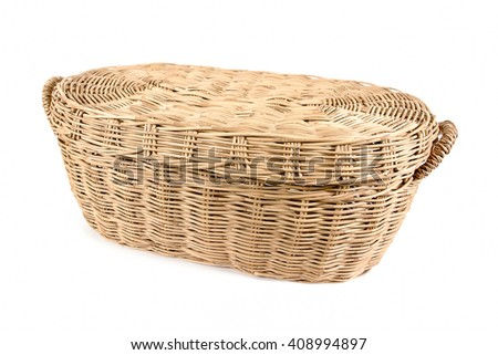 Weave rattan basket with cover isolated on white background