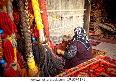 Weaver on Traditional Turkish Hand Loom