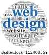 Web design concept in word tag cloud on white background - stock photo