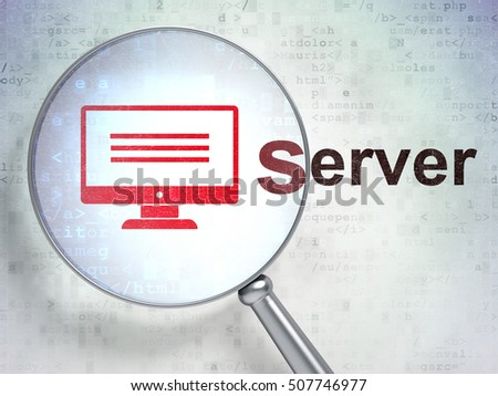 Web design concept: magnifying optical glass with Monitor icon and Server word on digital background, 3D rendering