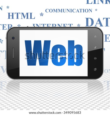 Web design concept: Smartphone with  blue text Web on display,  Tag Cloud background