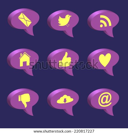 Web icons. Social network concept. Raster illustration.