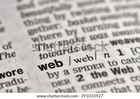 Web Word Definition Text in Dictionary Page
