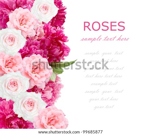 Wedding background of peonies and roses bunch isolated on white with sample text