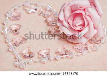 Wedding background with rose and beads