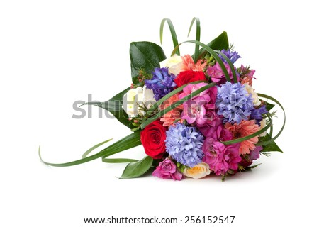 Wedding bouquet made of hyacinth, Rose, Gerber, Freesia and lilac flowers lying down on white background.