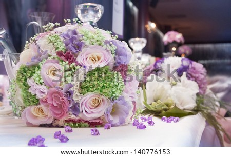 Wedding bunch of flowers.Fragile  color blossoms and petals