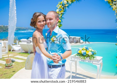 Wedding Ceremony at the Tropical Coast Line.Asia.