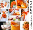 Wedding collage with beautiful orange theme - stock photo