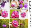 Wedding collage with bride's bouquet and other wedding details in pink and purple - stock photo