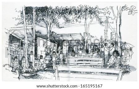 weekend market in Thailand freehand drawing illustration  (black and white)