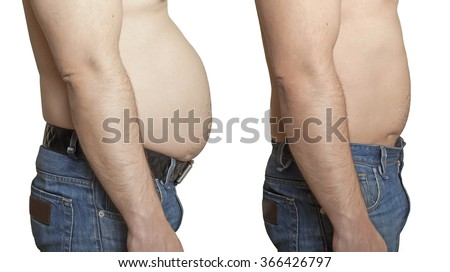 Weight loss. A man with a large and a small stomach.