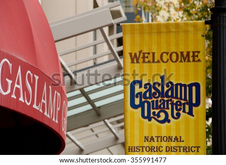 Welcome signs in Gaslamp quarter, San Diego