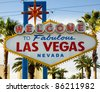 Welcome to Fabulous Las Vegas Nevada City Limit Sign - stock photo