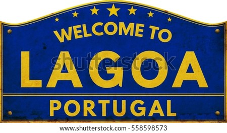 Welcome to LAGOA PORTUGAL highway road text sign blue.