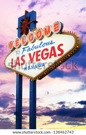 Welcome To Las Vegas neon sign at sunset.  Nevada, USA