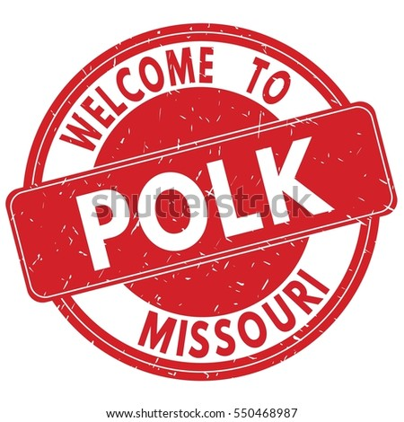 Welcome to POLK MISSOURI stamp sign text logo red.