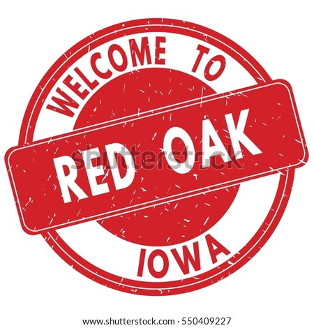 Welcome to RED OAK IOWA stamp sign text logo red.