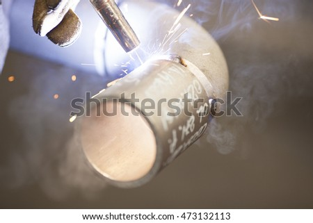 welding pipe and sparks