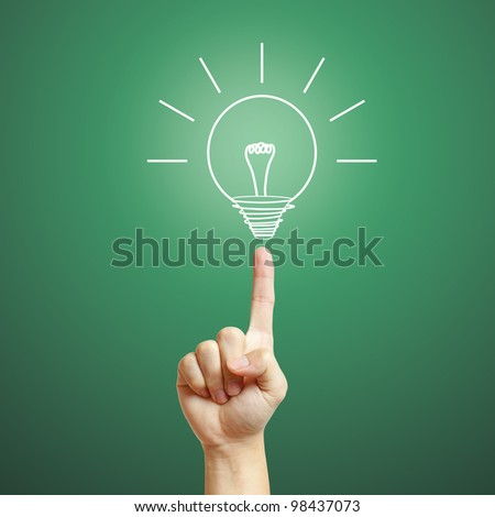 Well shaped hand with light bulb shining, Creative, Idea concept