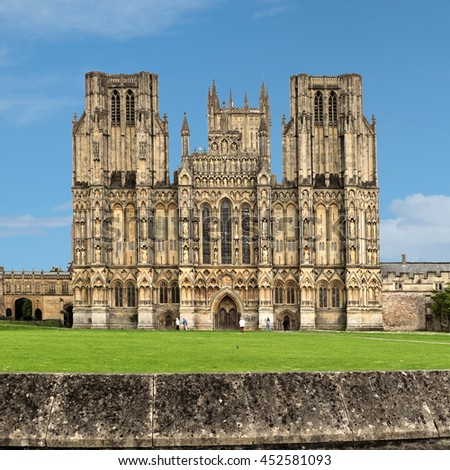 Wells Cathedral behind surrounding wall