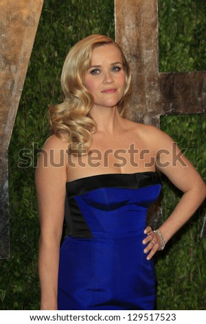 WEST HOLLYWOOD, CA - FEB 24: Reese Witherspoon at the Vanity Fair Oscar Party at Sunset Tower on February 24, 2013 in West Hollywood, California