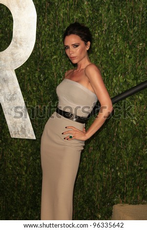 WEST HOLLYWOOD, CA - FEB 26: Victoria Beckham at the Vanity Fair Oscar Party at Sunset Tower on February 26, 2012 in West Hollywood, California.