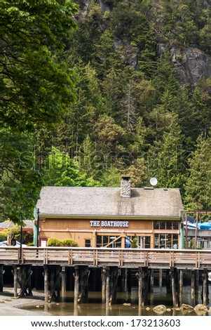 WEST VANCOUVER, CANADA - MAY 23, 2007: Boathouse in Horseshoe Bay in Vancouver. Horseshoe Bay is home to 3rd largest British Columbia ferry terminal with links to Vancouver Island and Sunshine Coast.