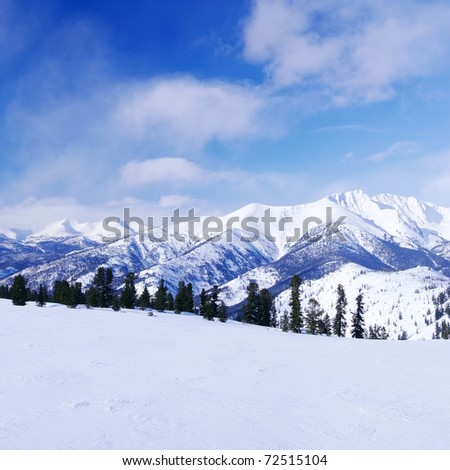 Western Sayan mountains. Ergaky. Siberia. Russia in winter time.