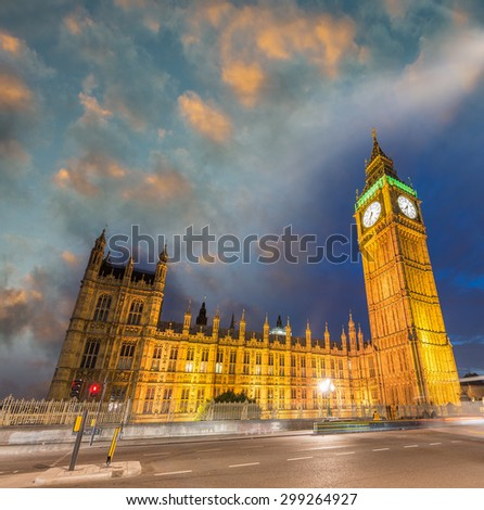 Westminster Palace at sunset, London.
