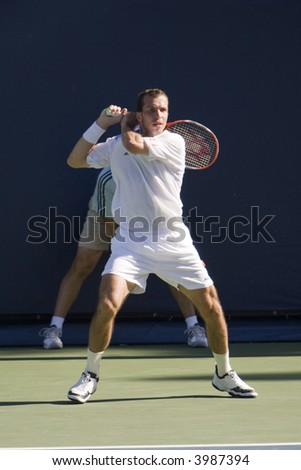 WESTWOOD, CA - JULY 19:  Radek Stepanek (pictured) playing against Mardy Fish at the US Open Series Countrywide Classic on 7/19/07.