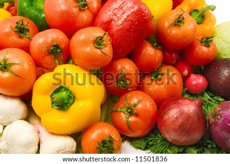 wet fresh raw vegetables background