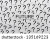 What will happen in the future? Many question marks on paper. Question concept. - stock photo