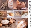 Wheat and bread collage - stock photo