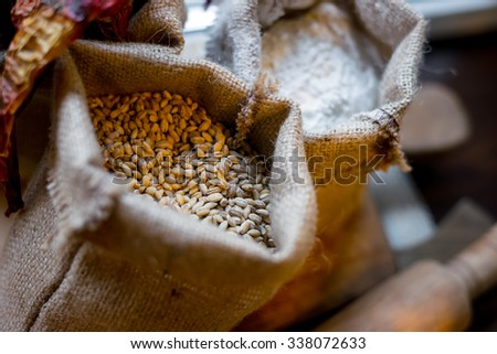 Wheat grains in the pouch