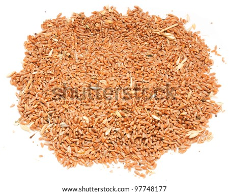 Wheat in bowl isolated on white