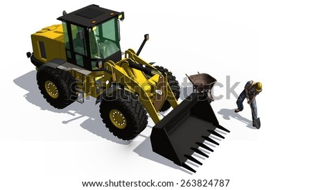 wheel loader behind construction worker with shovel and roadblock isolated on white background
