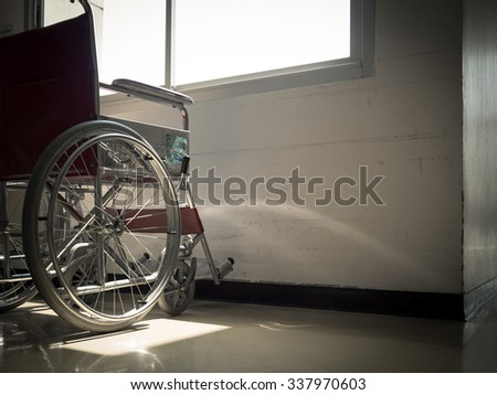 wheelchair with window light with copy space.