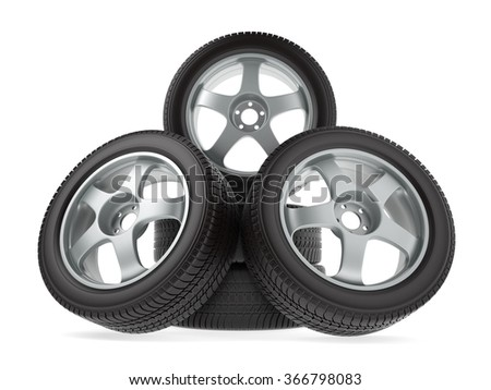 wheels with new tires on white background