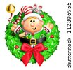 Whimsical Cartoon Christmas Wreath with Elf - stock photo