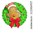 Whimsical Cartoon Christmas Wreath with Gingerbread Man - stock photo