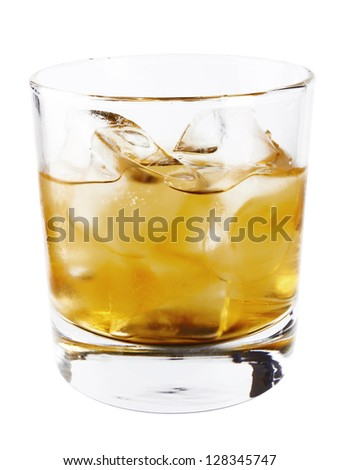 Whiskey glass and ice isolated on white background