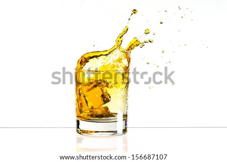 Whiskey ice cube splash