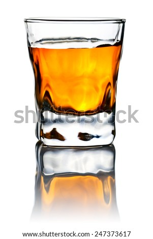 whiskey isolated on a white reflexive background